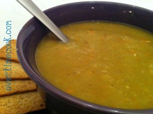 Hearty Split Pea Soup..shhhh-it's fat free!
