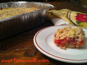 Apple Cherry Layered Crumb Cake (Kugel)