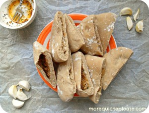 Fresh Garlic Pita Wedges- Guest Post by More Quiche, Please