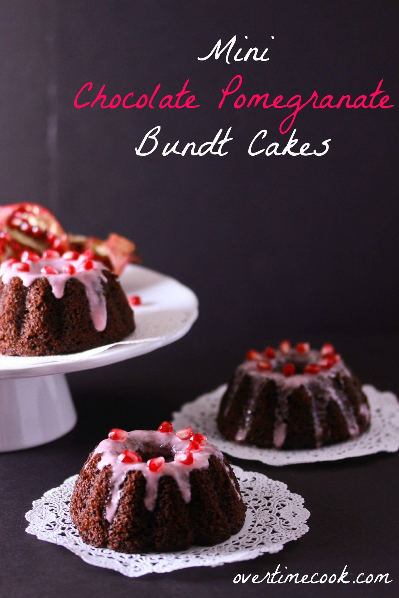 Mini Chocolate Pomegranate Bundt Cakes With Pomegranate