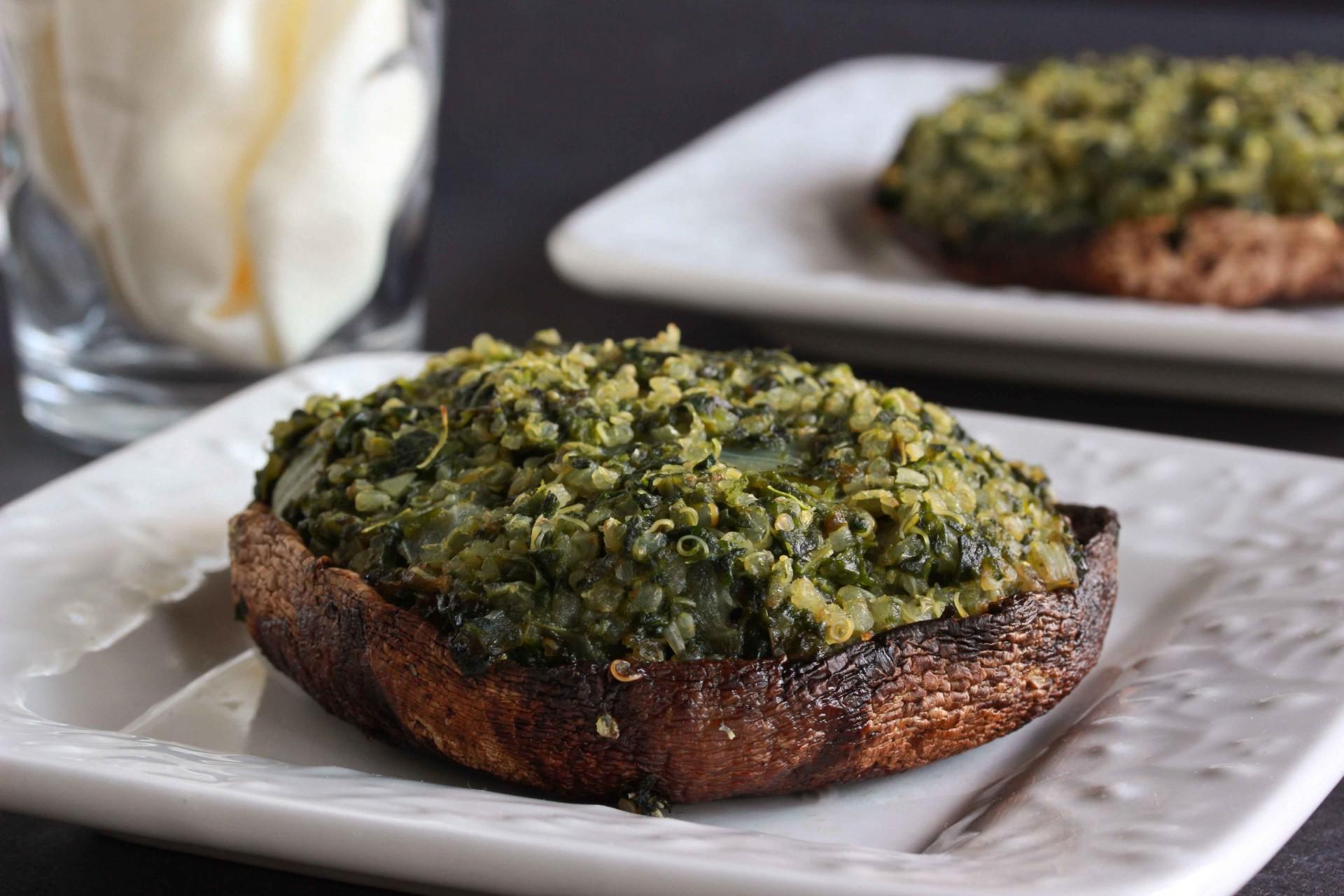 Quinoa and Spinach Stuffed Portobello Mushrooms - Overtime Cook