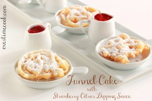 Mini Funnel Cakes with Strawberry Citrus Sauce