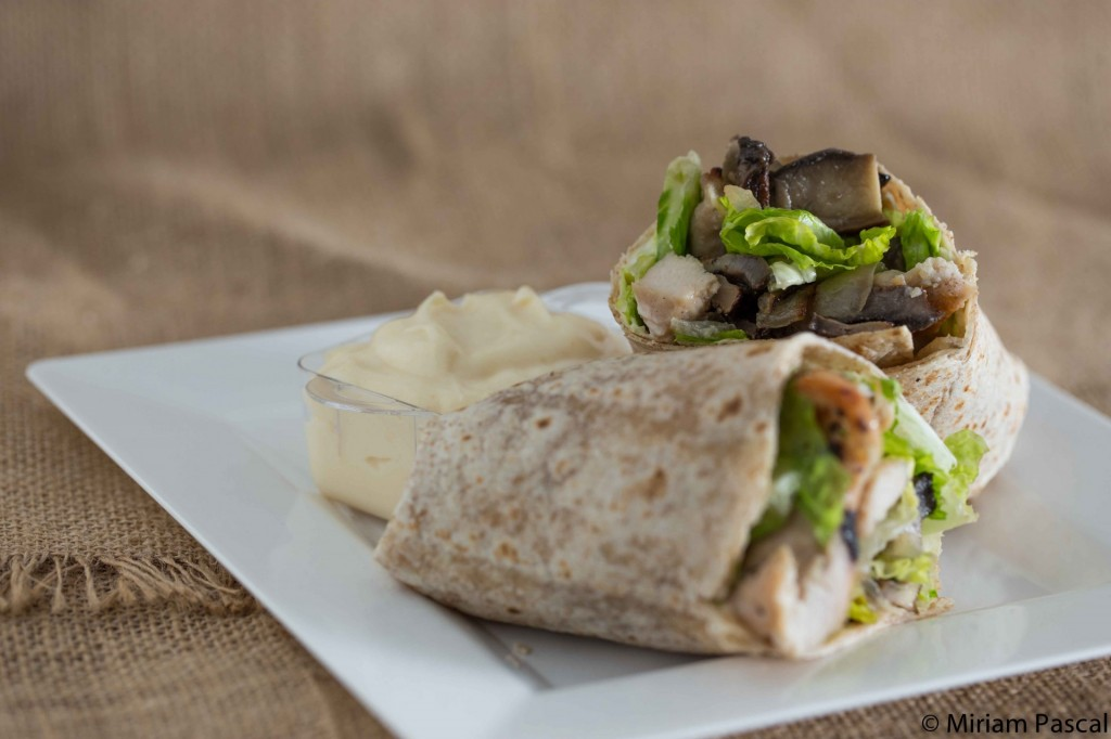 grilled chicken and portobello wraps