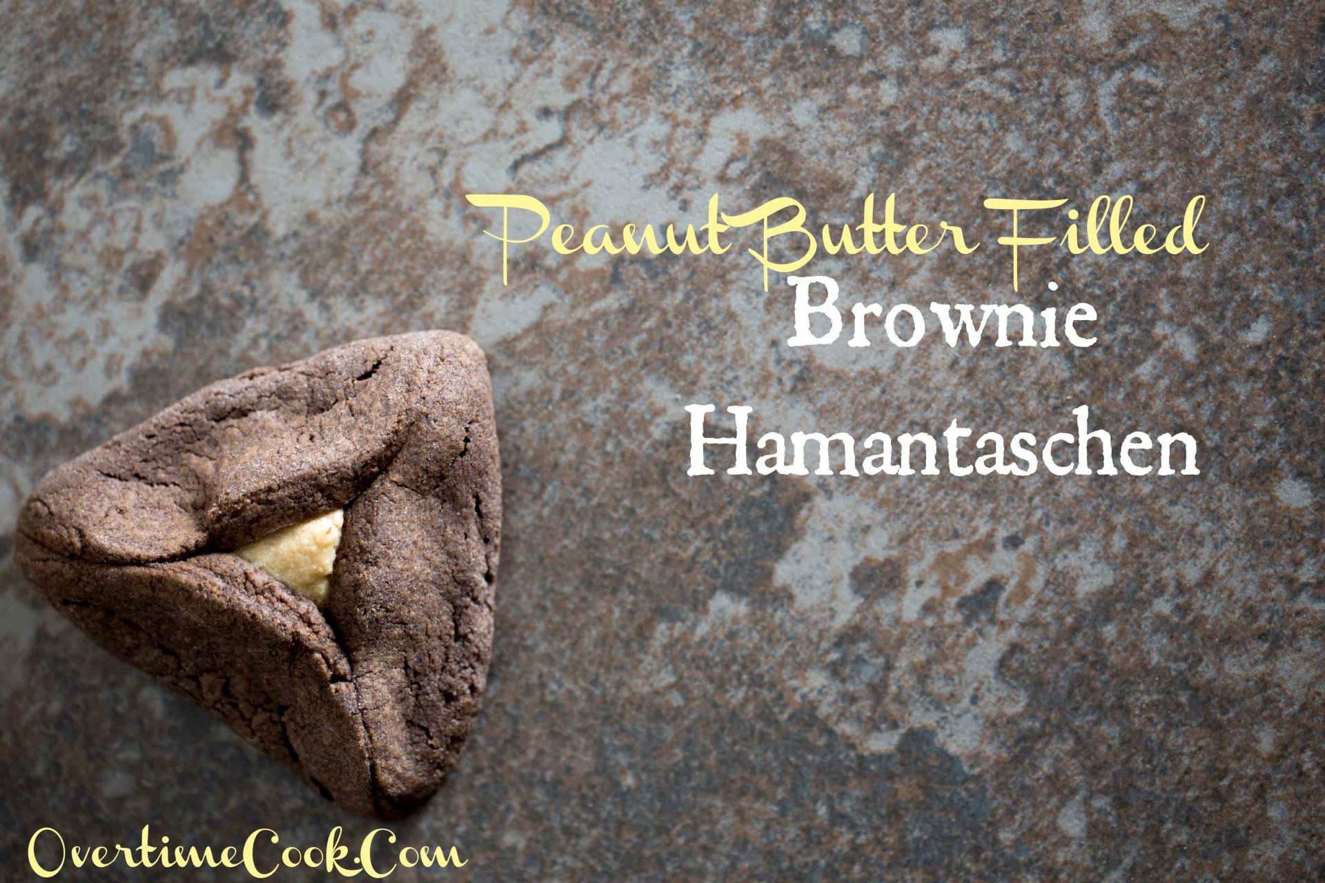 Peanut Butter Filled Brownie Hamantaschen - Overtime Cook