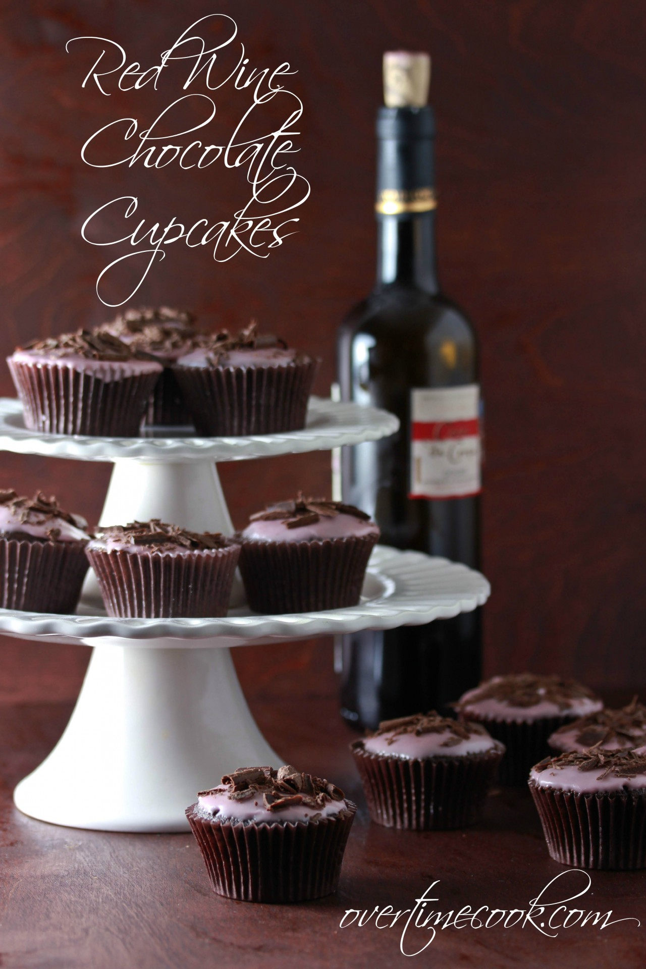 Red Wine Chocolate Cupcakes On OvertimeCook
