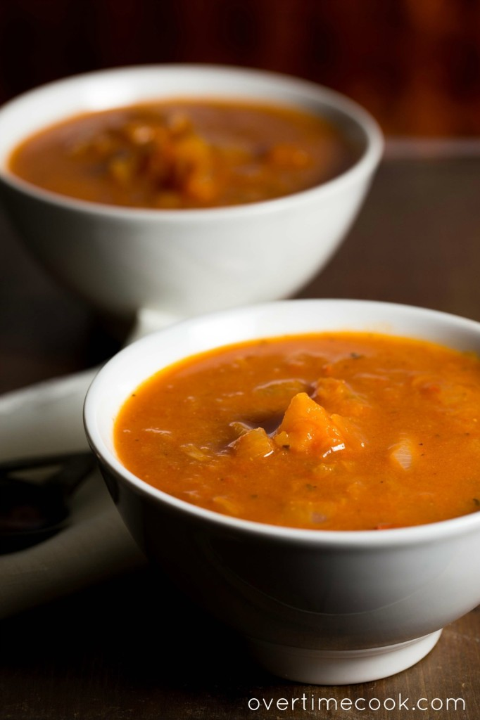 butternut squash tomato soup on overtime cook
