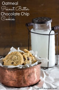 Oatmeal Peanut Butter Chocolate Chip Cookies {Without Butter or Margarine}