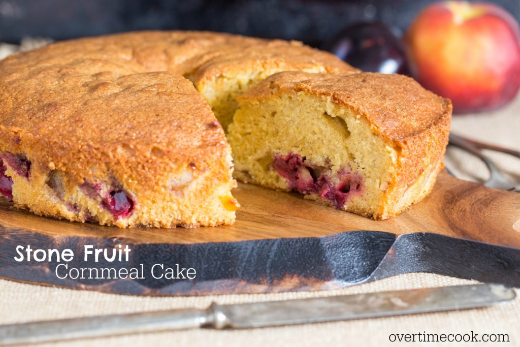 stone fruit cornmeal cake on OvertimeCook.com
