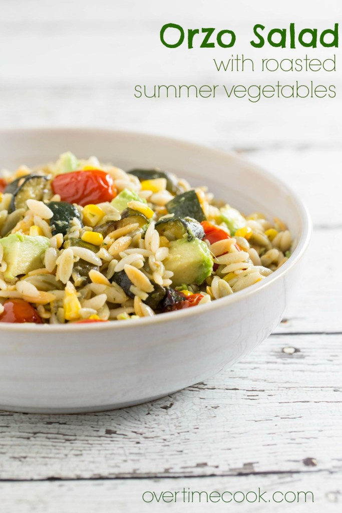 orzo salad with roasted summer vegetables | overtimecook.com
