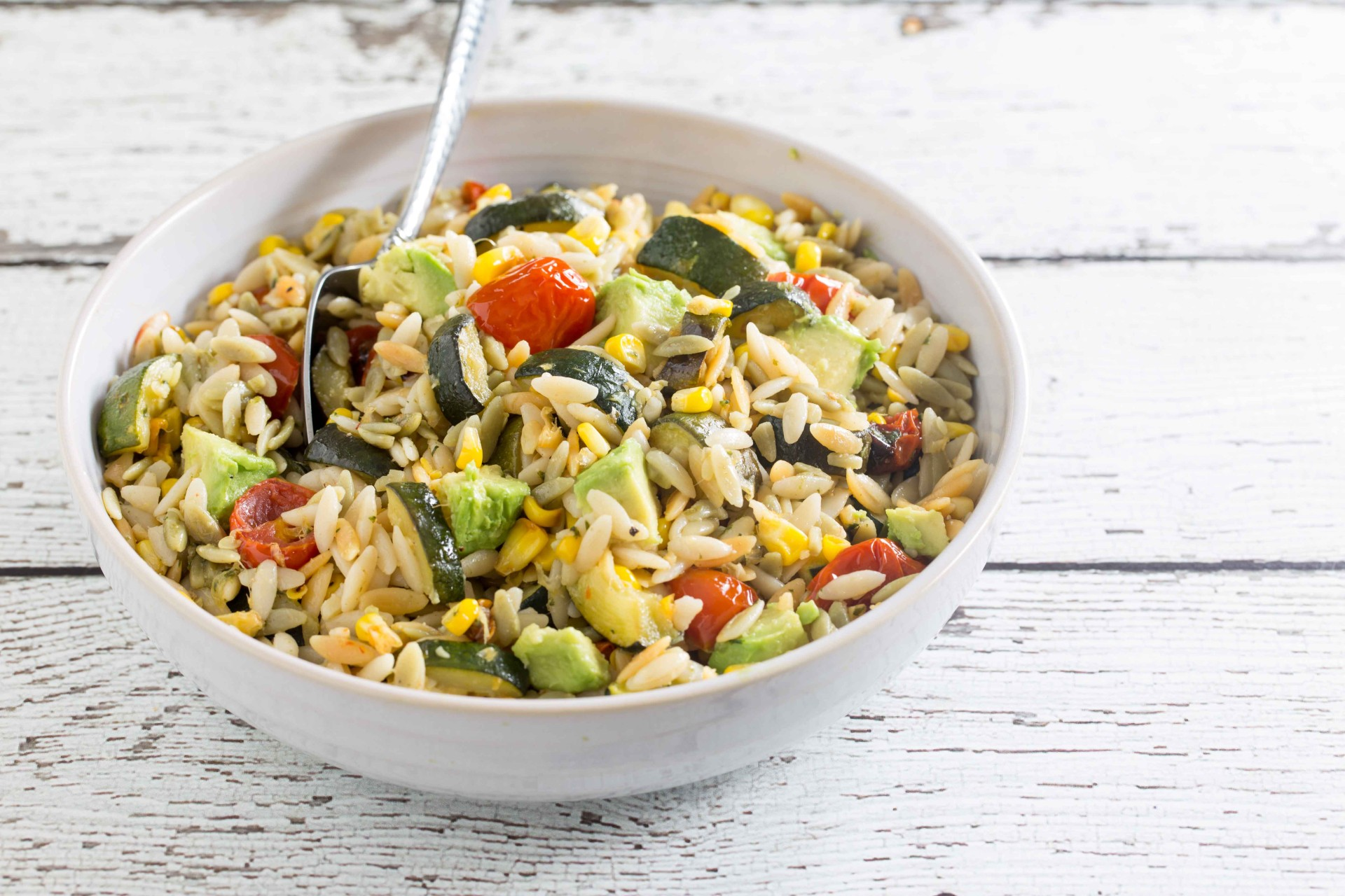Orzo Salad with Roasted Summer Vegetables - Overtime Cook
