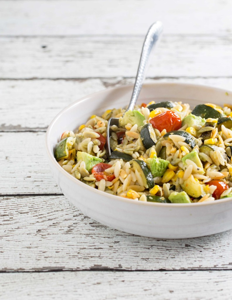 orzo salad with roasted summer vegetables