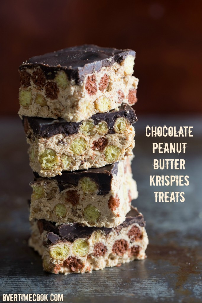 No-Bake Chocolate Peanut Butter Cereal Bars on Overtime Cook