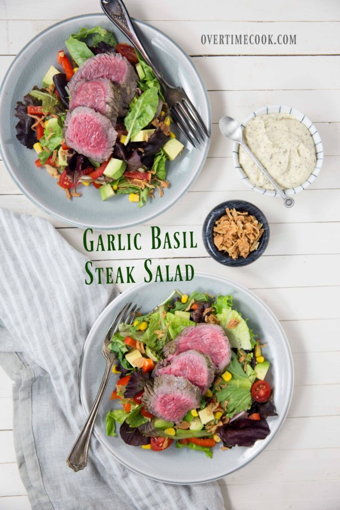 garlic basil steak salad on overtimecook