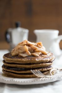 Healthy Gingerbread Pancakes with Caramelized Apple Topping