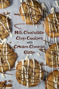 Jumbo Milk Chocolate Chip Cookies with Cream Cheese Glaze