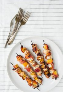 Grilled Chicken Peach and Pastrami Skewers